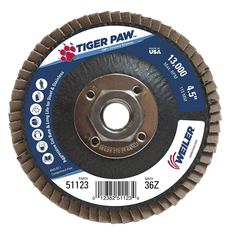Weiler 51123 Tiger Paw High Performance Abrasive Flap Disc, Type 29 Angled Style, Phenolic Backing, Zirconia Alumina, 4-1/2