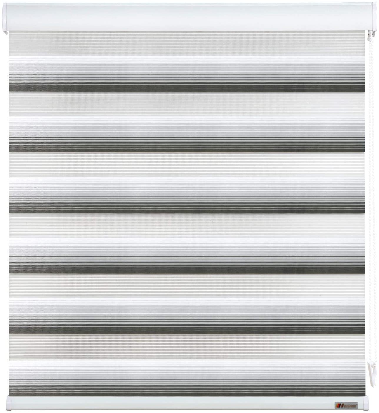 MUANNA Custom Cut to Size Zebra Roller Blinds, Dual Layer Shades, Sheer or Privacy Light Control, Day and Night Window Drapes, Grey Ombre, W:24.1-32 inch x H:88.1-98 inch