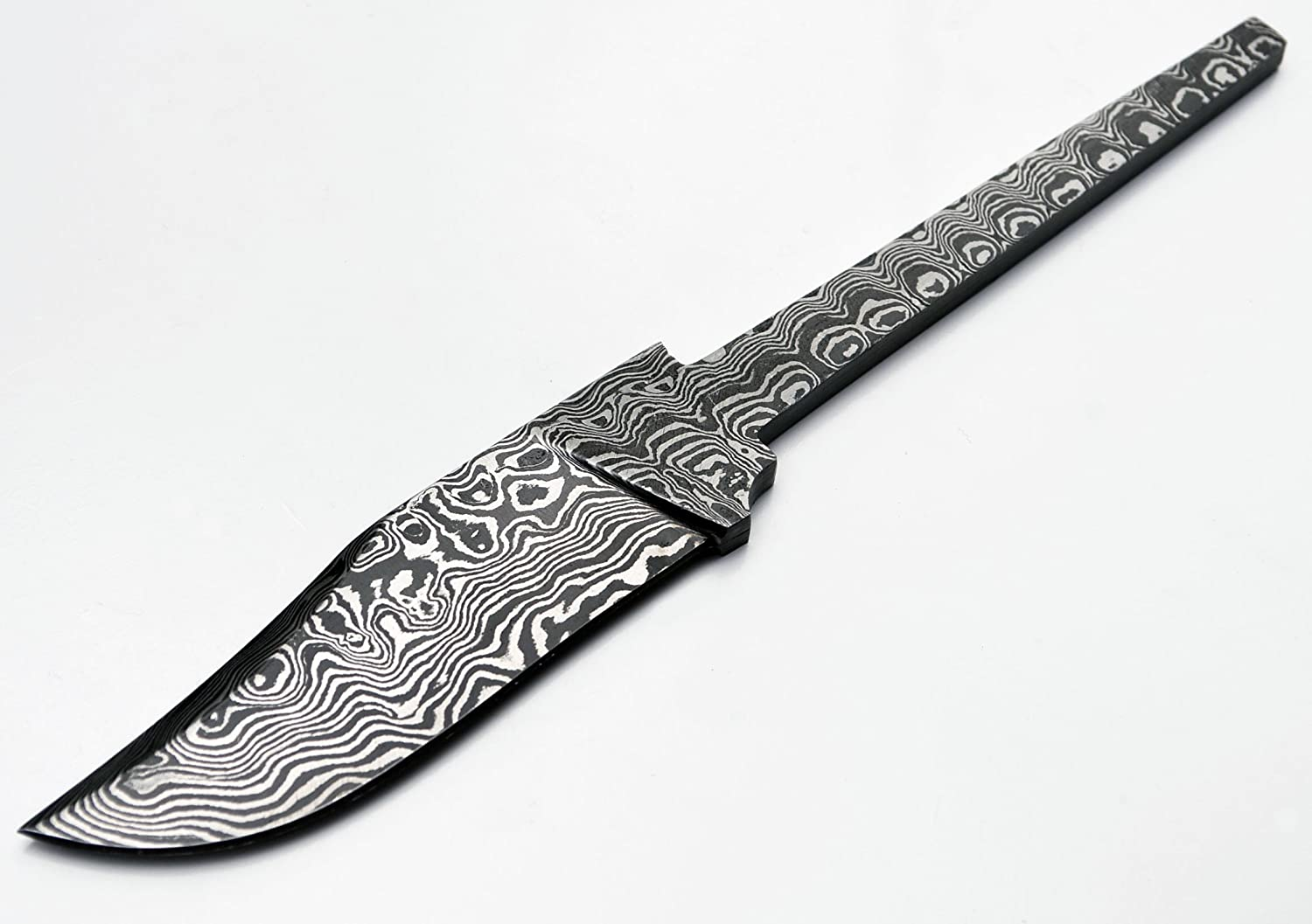 Whole Earth Supply Damascus Blank Clip Point Skinning Skinner Blade Partial-Tang Hunting Hunter 1095HC