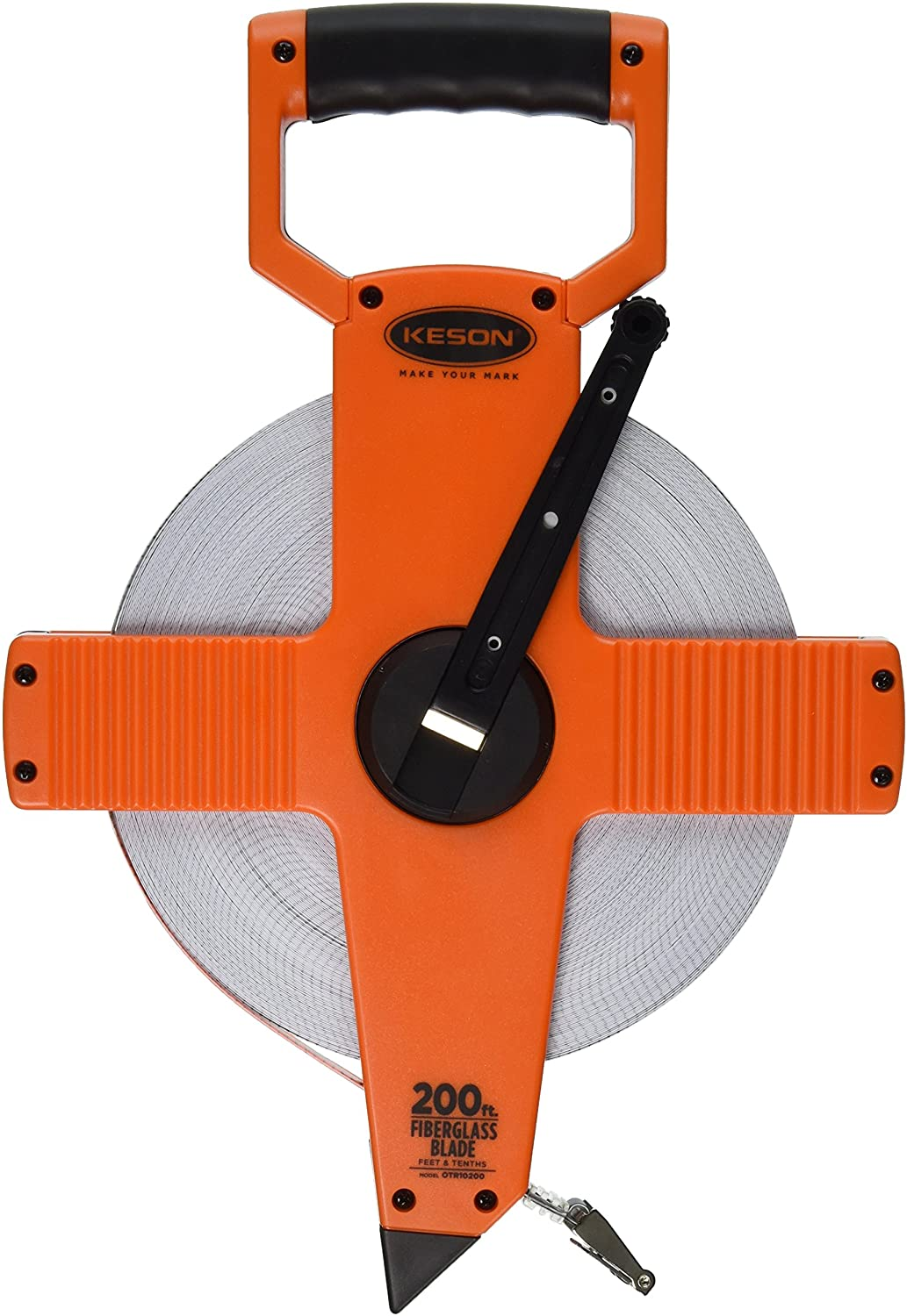 Keson OTR10200 Open Reel Fiberglass Tape Measure Reel (Graduations: 1/10, 1/100), 200-Foot