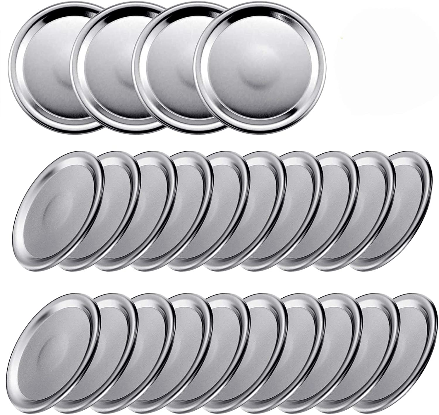 24 Pcs Canning Lids, 70MM Regular Mouth Mason Jar Lids And Bands, Stainless Steel Lids For Mason Jar Wide Mouth, Split-type Lids Leak Proof And Secure Canning Jar Caps