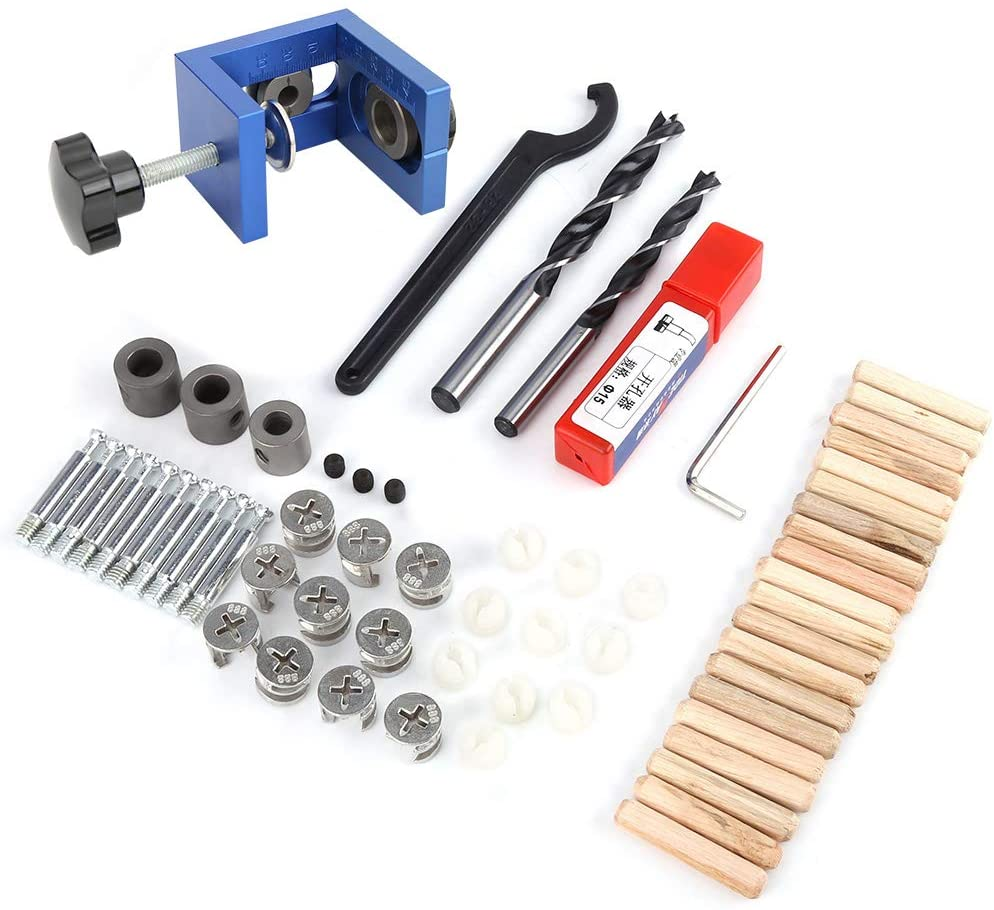 VIFER Drill Guide Dowel Hole Wood Dowel Hole Drilling Guide Jig Drill Bit Kit Woodworking Carpentry Positioner Locator Tool