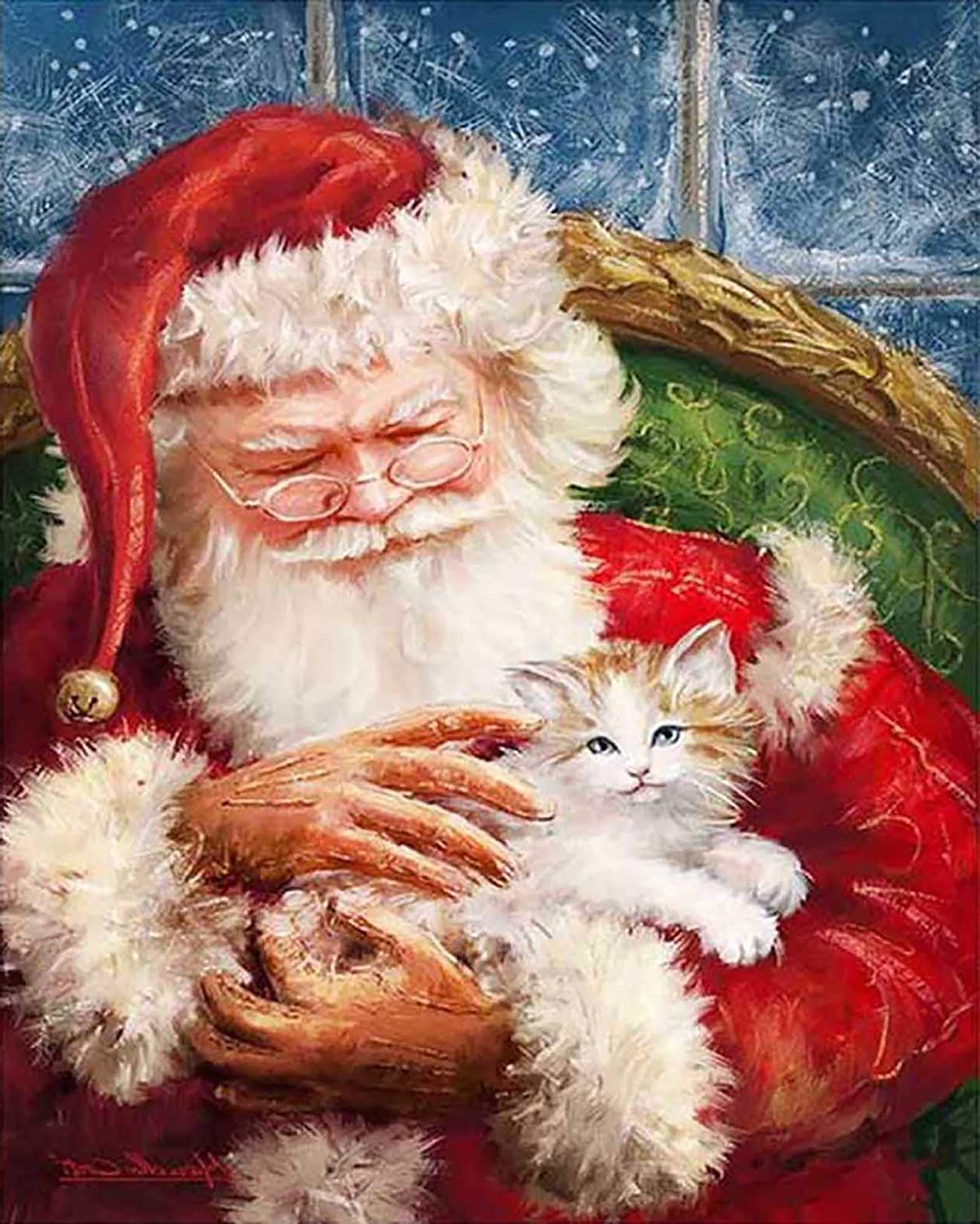 Zariocy Christmas Santa Cat Kitten Diamond Painting Round Full Drill by Number Kits, DIY Paint with Diamond Crystal Rhinestone Diamond Embroidery Arts Craft for Home Wall Decor 30x40cm/12x16 inch