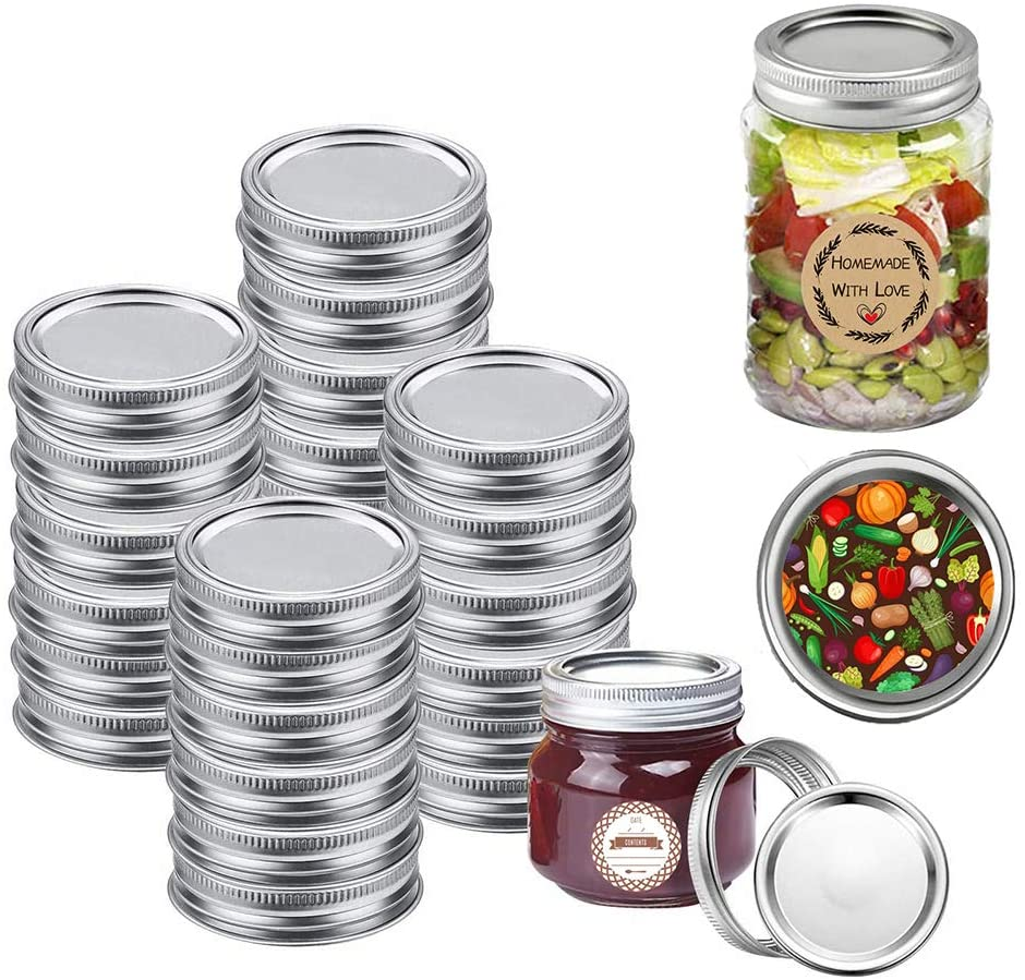 24 Sets Regular Mouth Canning Lids,Regular Mouth Mason Jar Lids And Bands,Split-Type Lids Leak Proof and Secure Canning Jar Caps(24 lids+24 bands+40 DIY Label)