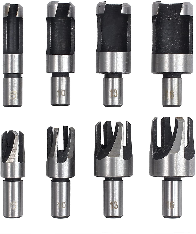 huiqixian 8X Carbon Steel Wood Plug Hole Cutter Set