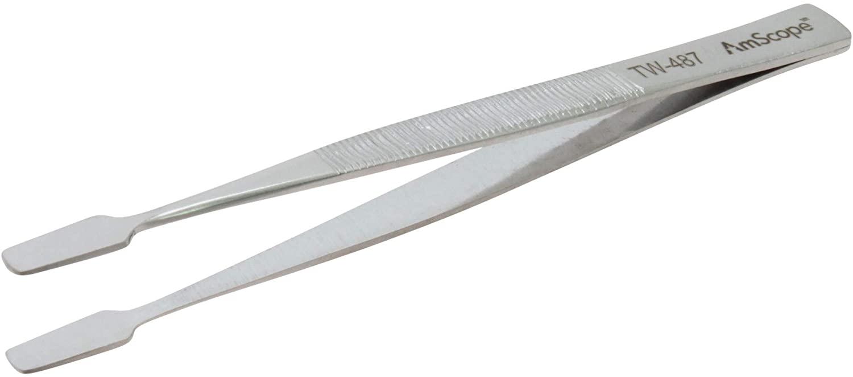 AmScope - 4 3/8 in. General Purpose Spade Smooth Tip Tweezers - 1 pc