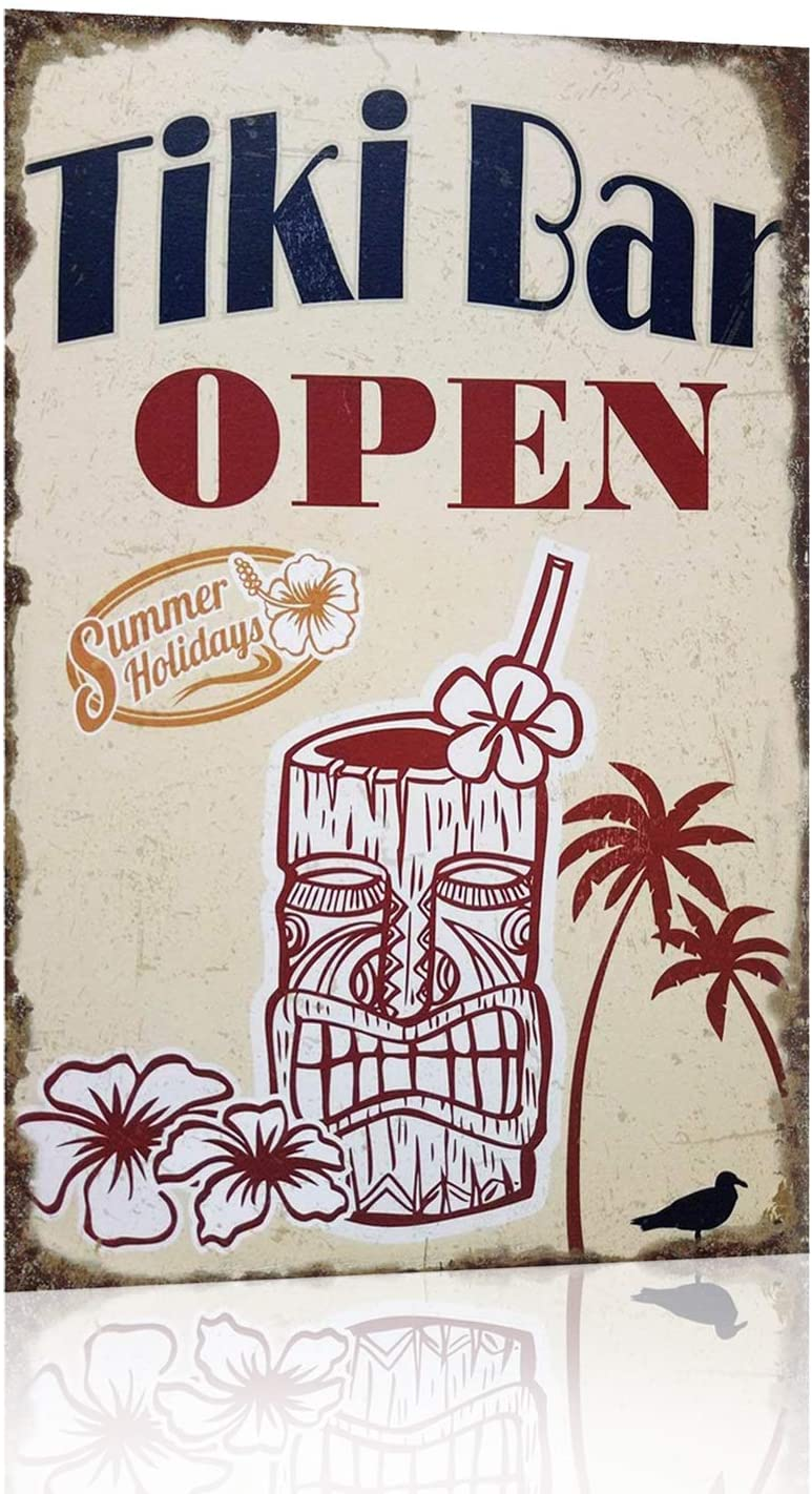 Joyingle Vintage Tin Signs Tiki Bar Open Summer Holidays Metal Tin Sign 12 X 8 inch