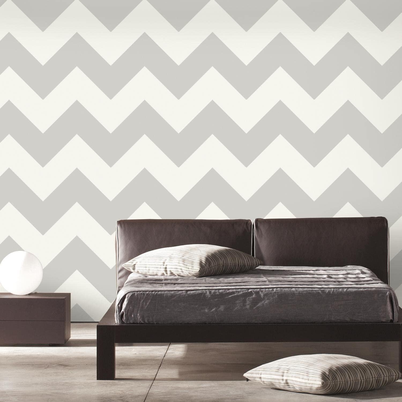 RoomMates Gray Large Chevron Peel and Stick Wallpaper