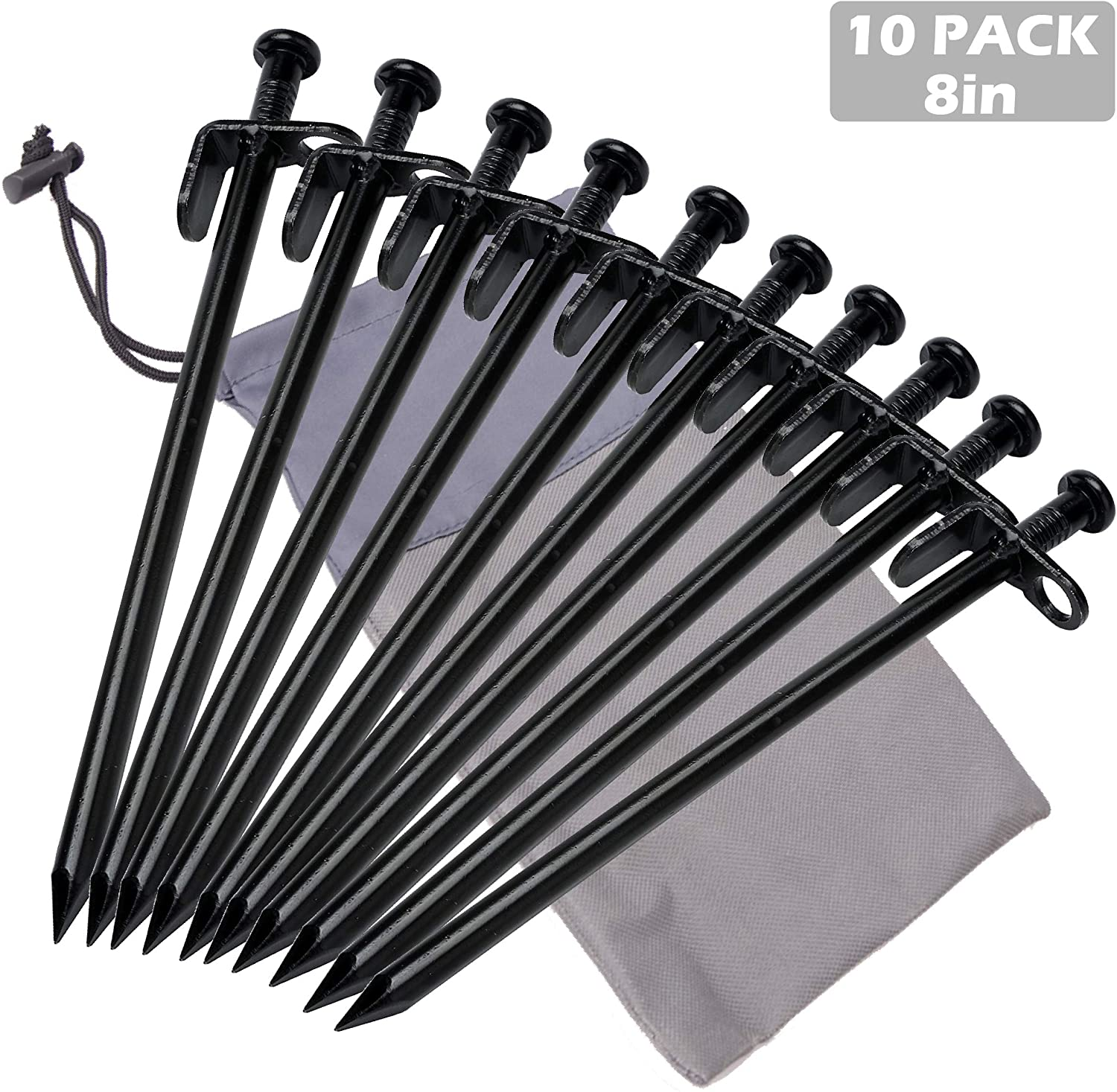 TRIWONDER Tent Stakes Heavy Duty Camping Stakes Forged Steel Tent Pegs Nails Outdoors Solid Stakes with Carrying Bag