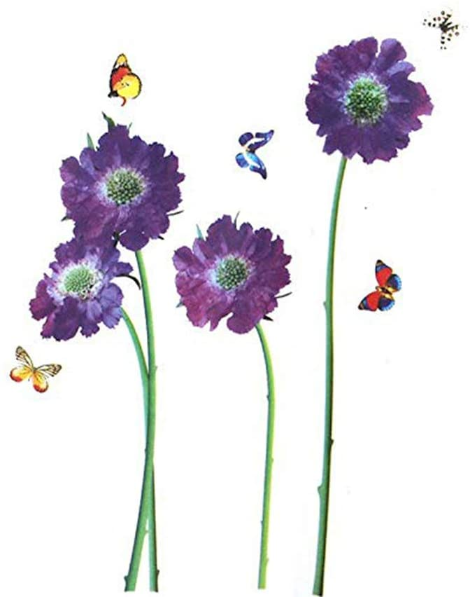 Home Find Wall Stickers Purple Flowers DIY Violet Flowers with Butterflies Nature Scenery Art Murals Vinyl Wall Decals Stickers for Living Room Girls Room Nursery Home Decor (18 inches x 23 inches)