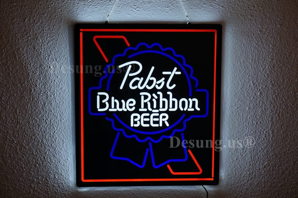 Desung.us Revolutionary Pabst Blue Ribbon PBR Beer LED Neon Light Sign Design Decorate 3rd Generation Sign 14''x12'' LEA06S