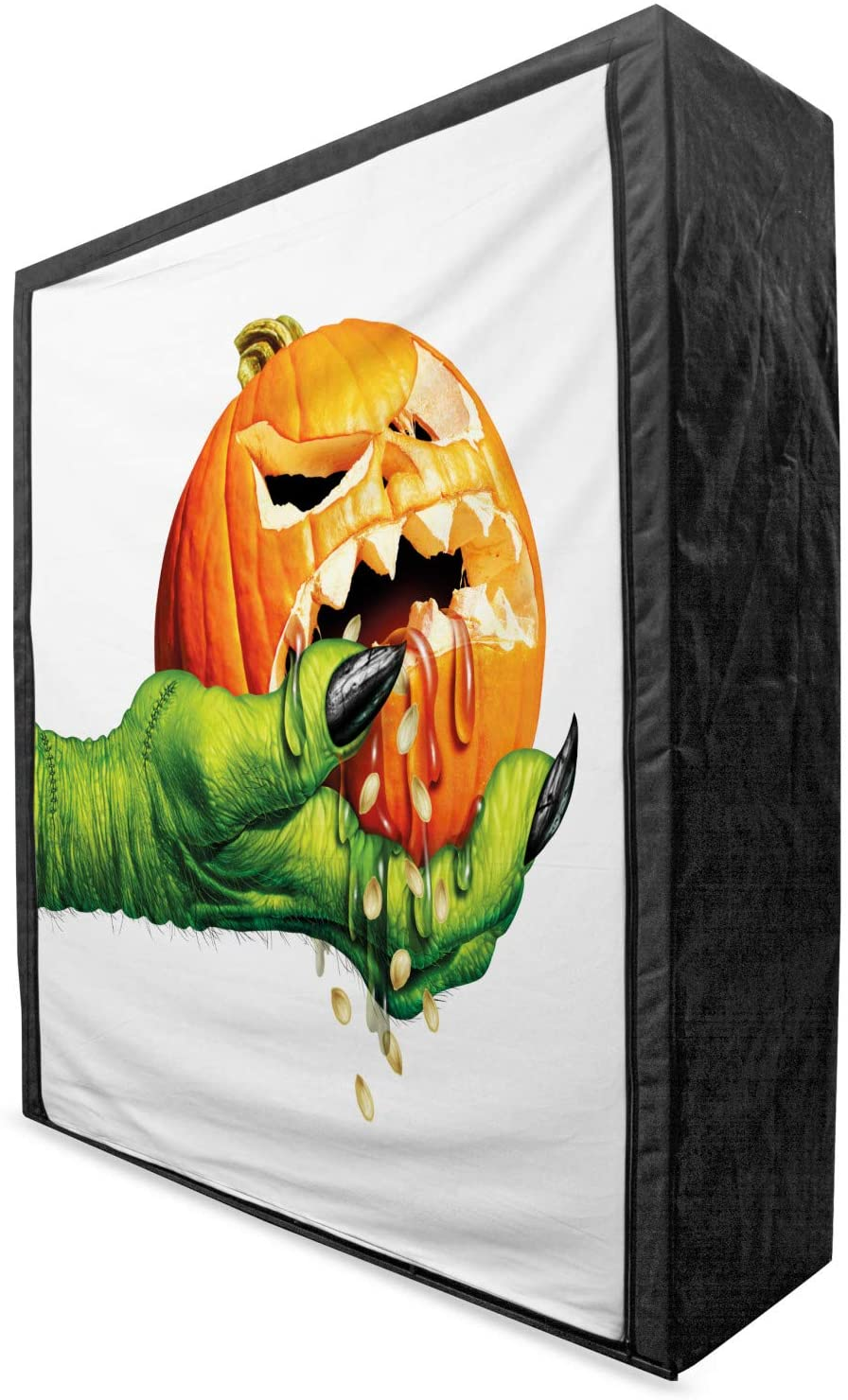 Lunarable Pumpkin Portable Fabric Wardrobe, Halloween Themed Green Monster Hand Presents Jack o' Lantern Dripping Eerie Liquid, Clothing Organizer and Storage Closet with Shelves, 59