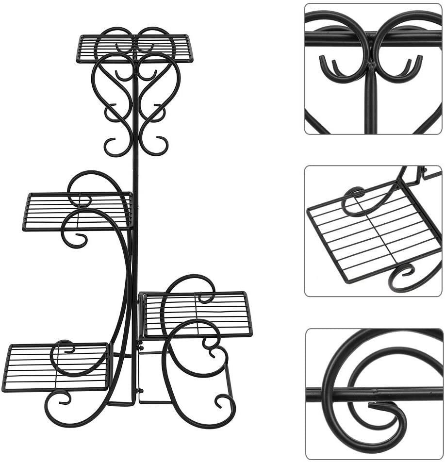 4 Potted Square Flower Metal Shelves Plant Pot Stand Decoration for Indoor Outdoor Garden (Black)