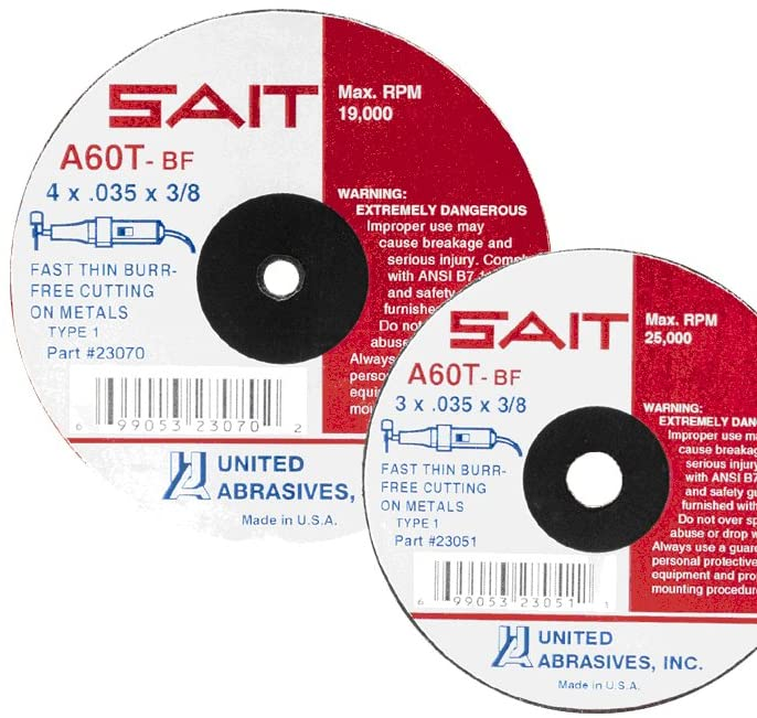 United Abrasives- SAIT 23064 Type 1 4-Inch x .035-Inch x 5/8-Inch 19000 Max RPM A60T - Burr Free Cut-Off Wheels, 100-Pack