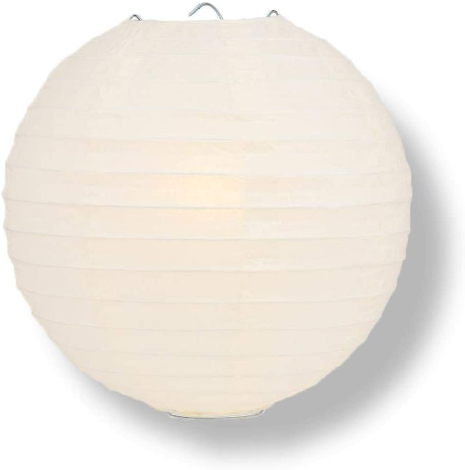 Quasimoon PaperLanternStore Decorative Paper Lantern - (Single, 14-Inch, Beige/Ivory, Even Ribbing) Round Paper Lantern - Ideal Wedding and Party Decor or Home Accent, Lighting Optional