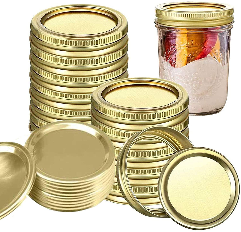 48 Pcs Canning Lids 70mm Regular Mouth Canning Bands and Lids Kitchen Airtight Reusable Jar Lids for Ball, Mason Can Jar Lids (24 Pcs Lids & 24 Pcs Bands)