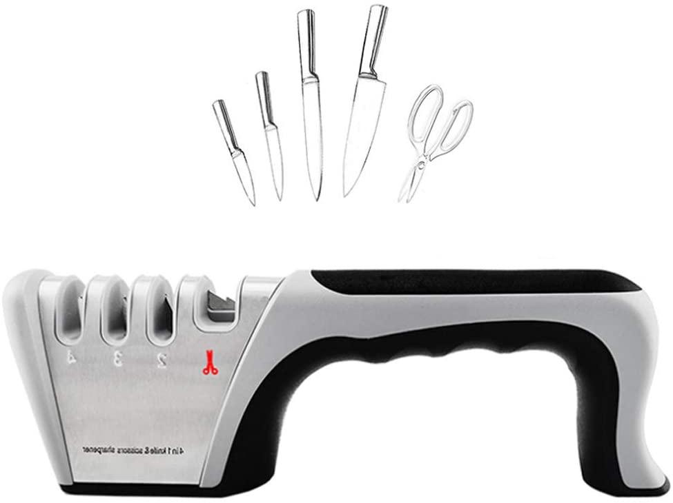 CASRO knife sharpener, upgraded 4-level blade sharpener (scissors, ceramic, coarse and fine), the best kitchen scissors and sharpener.