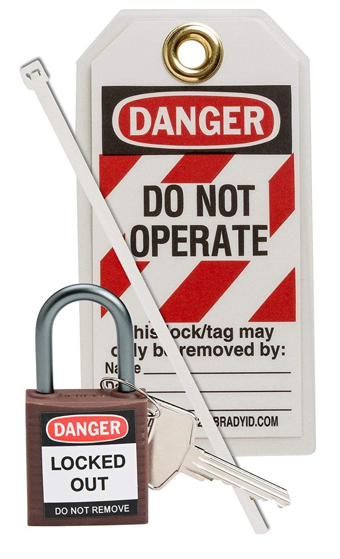 Brady 123148 Compact Lock Personal Kit, Brown