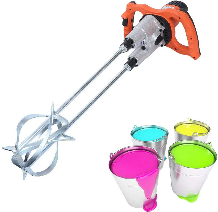 Professional Electric Mortar Mixer, Double Rod Hand Held Paint Mixer Cement Grout Mortar Mixer Powerful Stirrer With Double Agitator Jug (1800W)