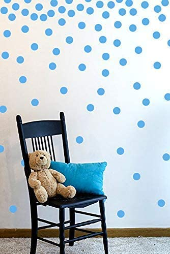 The Open Canvas Wall Decal Dots (200 Decals) | Easy to Peel Easy to Stick + Safe on Painted Walls | Removable Vinyl Polka Dot Decor | Round Sticker Large Paper Sheet Set for Nursery Room (Light Blue)