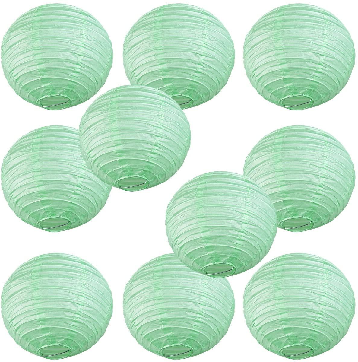 WYZworks Round Paper Lanterns 10 Pack (Seafoam Green, 12