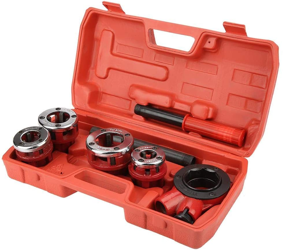 Pipe Threading Set, Max Torsion Ratcheting Tap and Die Set, Alloy Steel Plumber for Threading Work for Work for Galvanized Pipe for Iron Pipe(62B type four head)