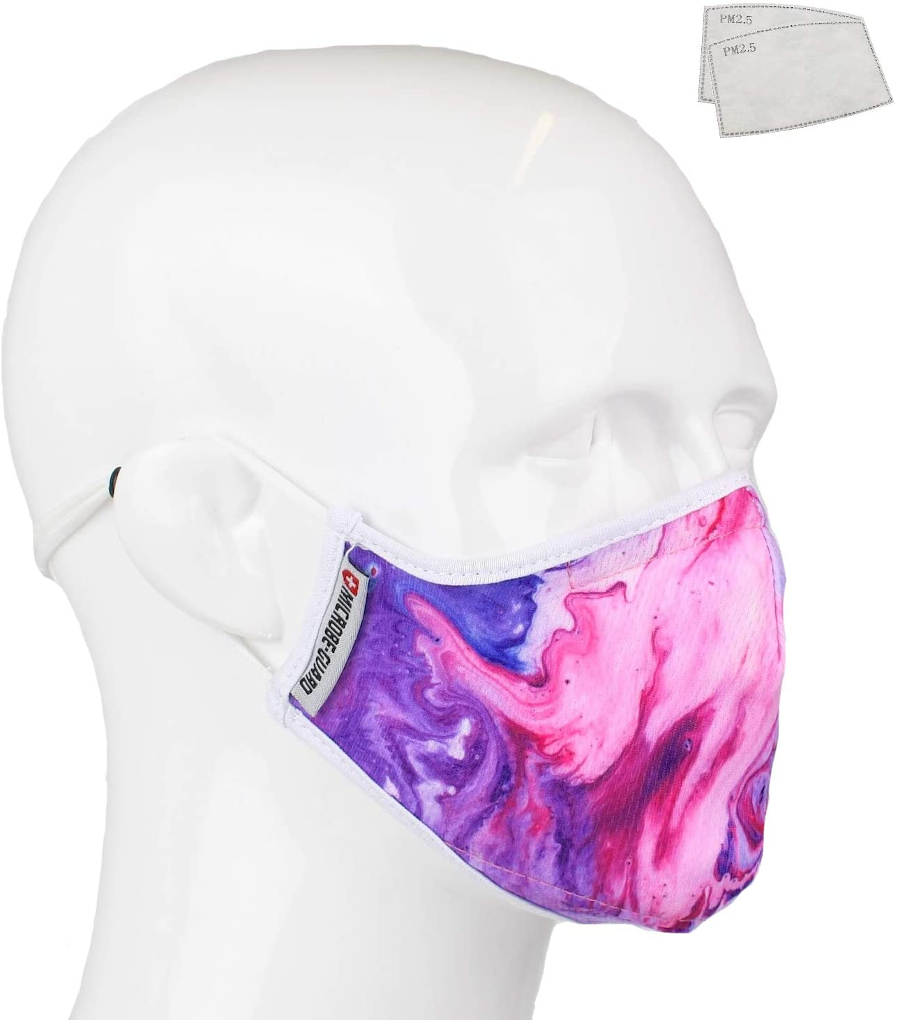 RGK Unique Breathable-Reusable Microfiber Adult Safety Covering (Washable) | Two Layer + 2 Insertable PM2.5 Filters | Adjustable Nose Wire & Ear Loops | Men, Women, Teens (Purple Acrylic)