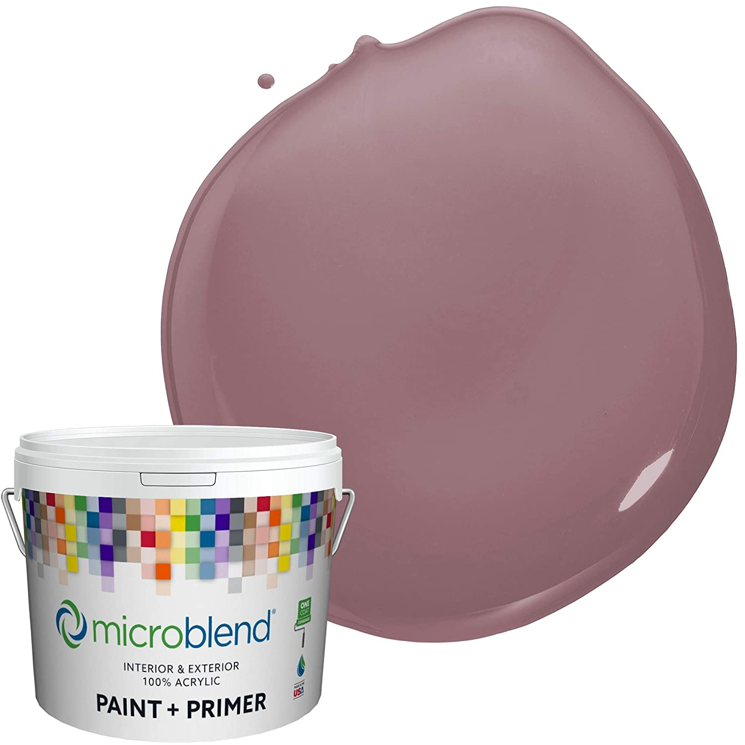 Microblend Exterior Paint and Primer - Purple/Merry Mauve, Semi-Gloss Sheen, 1-Gallon, Premium Quality, One Coat Hide, Low VOC, Washable, Microblend Violets Family