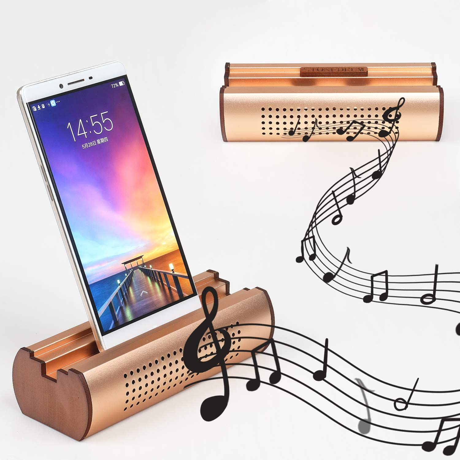 Cell Phone Stand Holder Aluminum Alloy Cell Phone Stand Sound Amplifier Phone Dock Stands Compatible Phone XS Max XR X 7 8 Plus and Android Smartphones Within 5.5 Inches (Rose Gold)