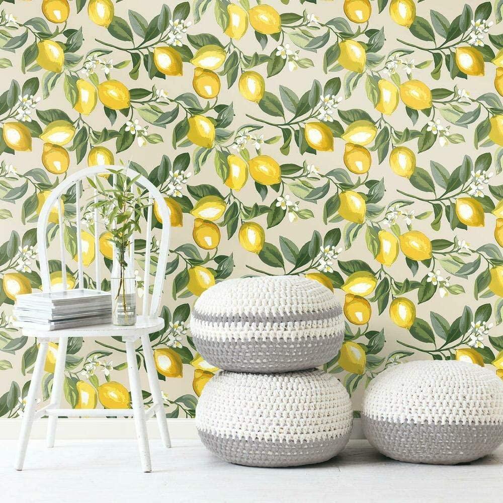 RoomMates Lemon Zest Yellow and Beige Peel and Stick Wallpaper