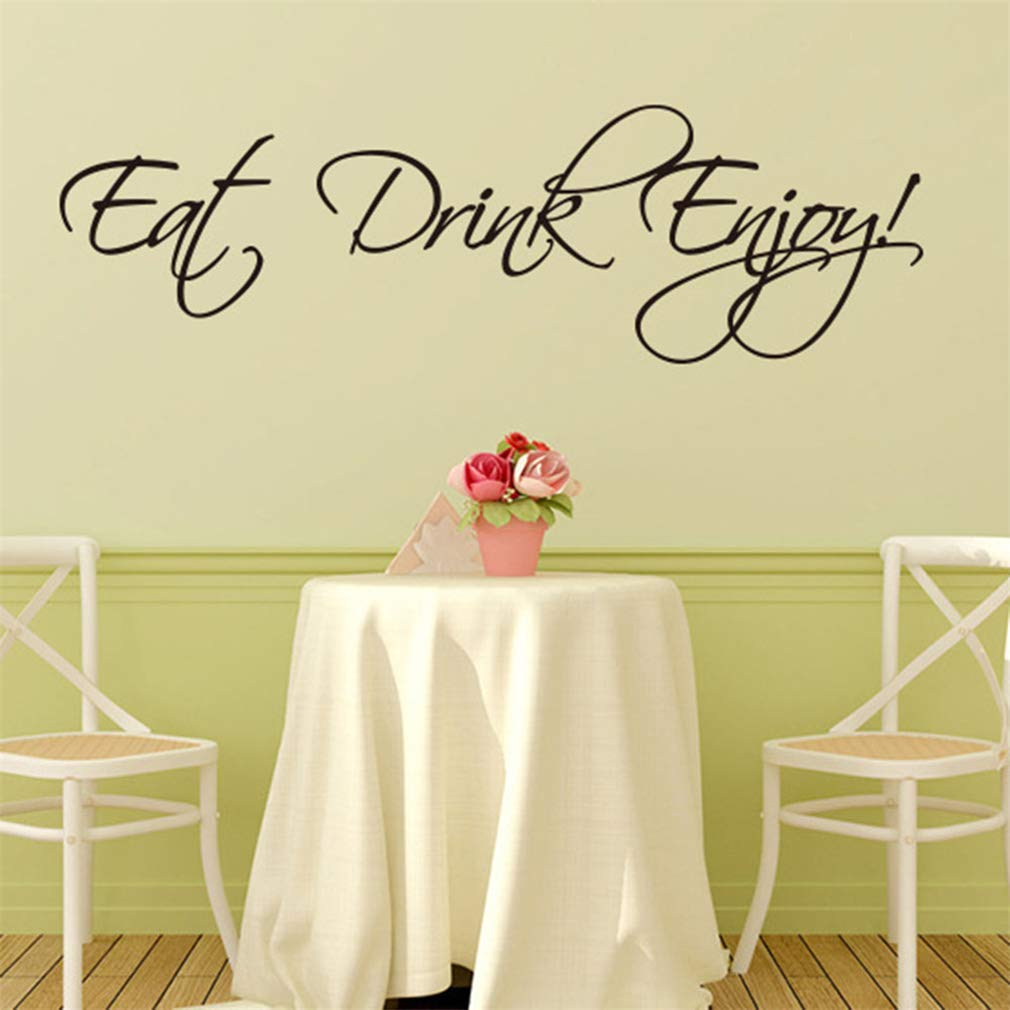 Eat Drink Enjoy Wall Decals,Vinyl Removable PVC Stickers Decor for Home Bedroom Living Room Decoration 22.4×6.7 in