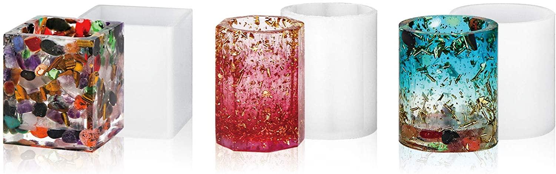 Silicone Resin Pen Holder Molds, Gartful Epoxy Resin Casting Molds, Planter Pot Molds for DIY Pen Holder, Brush Holder, Flower Pot, 3 Styles, Round, Square, Octagon