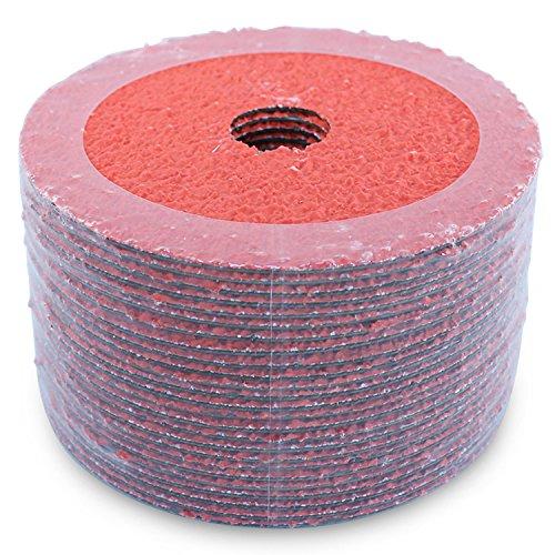 "BHA Ceramic Resin Fiber Grinding and Sanding Discs, 5"" x 7/8"", 24 Grit - 25 Pack"