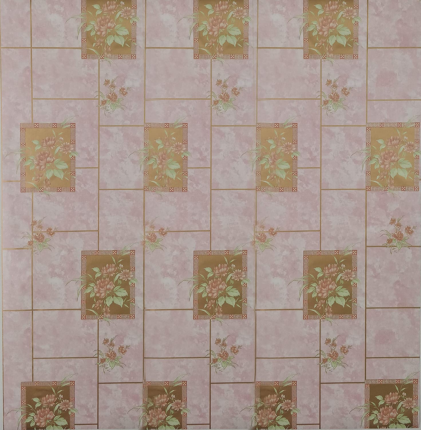 Dundee Deco AZ-F8193 Floral Printed Pink, Green Flowers in Tiles Peel and Stick Self Adhesive Removable Wallpaper, Roll 18 ft. X 18 in. (5.5m X 45cm), 26.6 sq. ft. (2.5 sq. m)