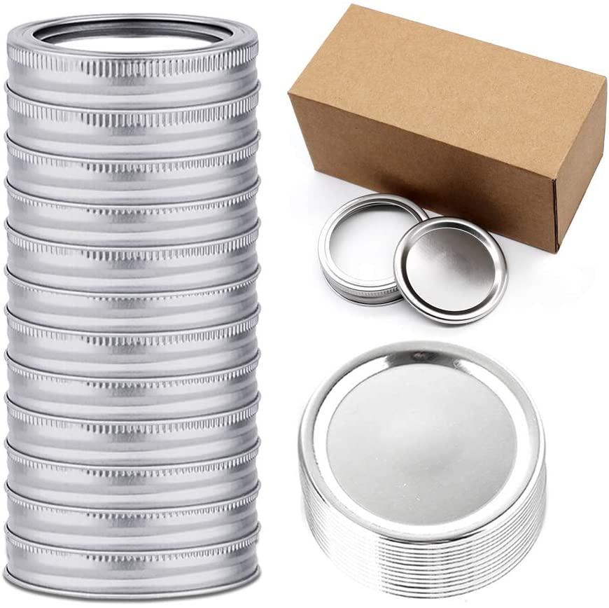 Fierceriver 24 Pieces/12 Sets Canning Lids with Bands, Regular Mouth Mason Jar Lids, Food-Grade Storage Caps for Canning Jars, Split-Type Canning Lids Leak Proof Jar Sealing Caps