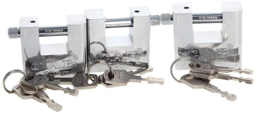 MroMax Keyed Padlock Anti Rust Lock Waterproof Padlock for Outdoor Use, 2inch Wide Lock, Keyed Different - Steel Body & Rectangular Shackle 3Pcs