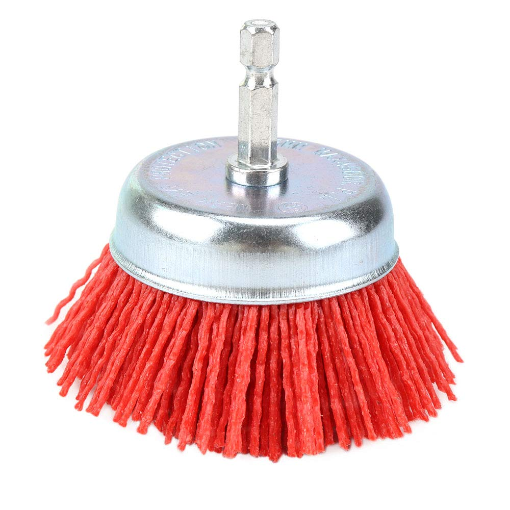 3inch Nylon Drill Brush Nylon Abrasive Cup Brush with 1/4 Hex Inch Shank Grit 80 for Removal Rust Corrosion Paint (1Pcs-Red)