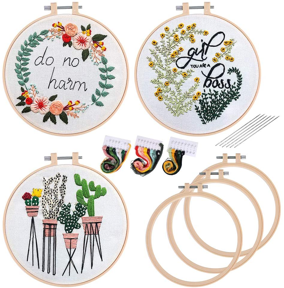 3 Pack Embroidery Starter Kit for Beginners and Instructions, Cross Stitch Set, Full Range of Stamped Embroidery Kits with 3 Plastic Embroidery Hoops, 3 Embroidery Clothes, Color Threads Tools Kit