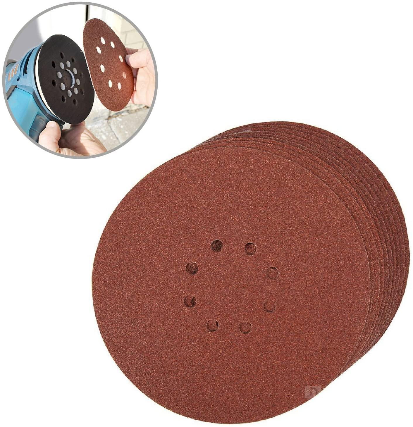 20 x Hook and Loop 225mm Sanding Disc Sheets 80 Grit Palm Sander Orbital Pads