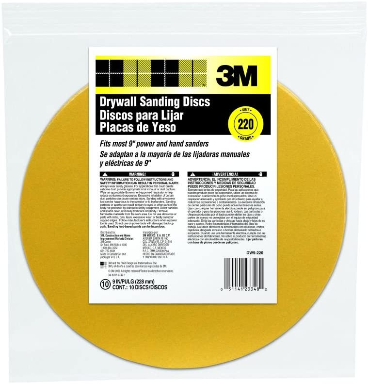 3M DW9-100 Drywall Sanding Discs, 100 Grit, 9-Inch, 10 Per Pack