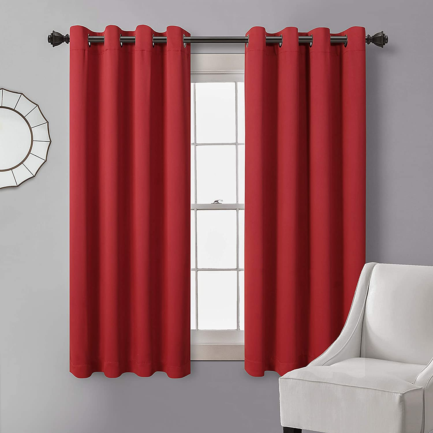MYSKY HOME Blackout Curtain for Bedroom, Grommet Room Darkening Curtain, Amazing Triple Weave Thermal Insulated Curtain, 1 Curtain Panel ( 52 x 63 Inch, Red )