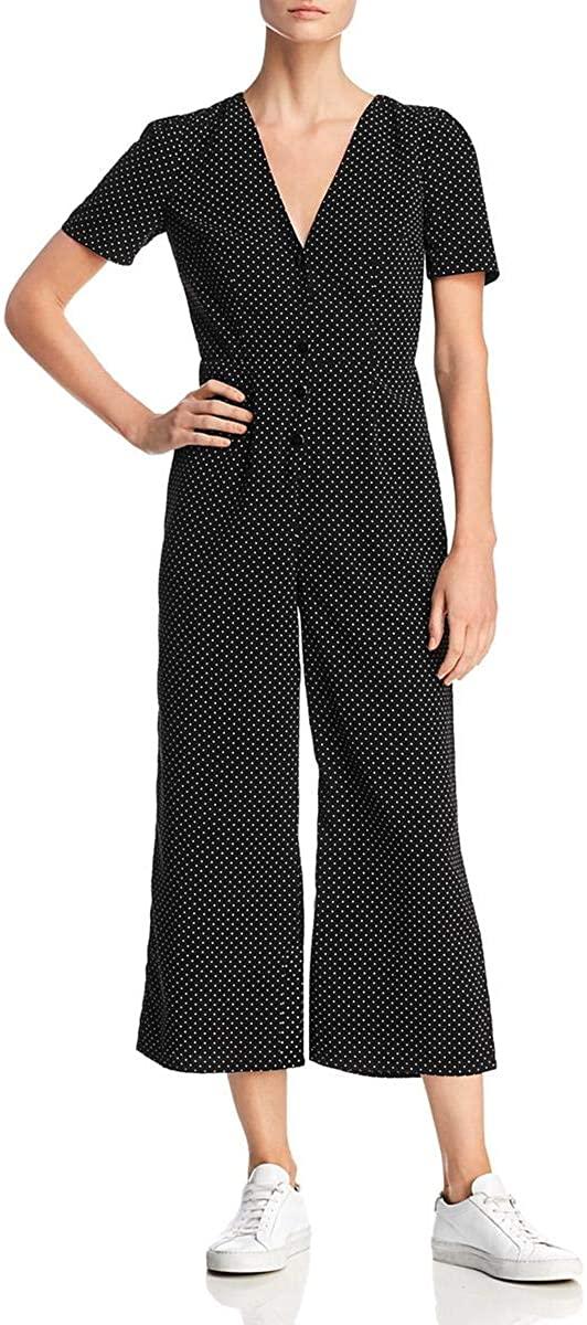 Sadie & Sage Womens Polka Dot Button-Down Jumpsuit