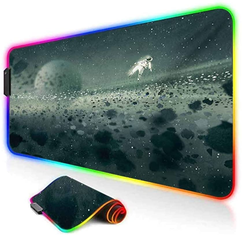 RGB Gaming Mouse Pad,Moon Journey of an Astronaut on The Surface Outer Space Asteroid Field Universe Led Mousepad with Non-Slip Rubber Base,35.6