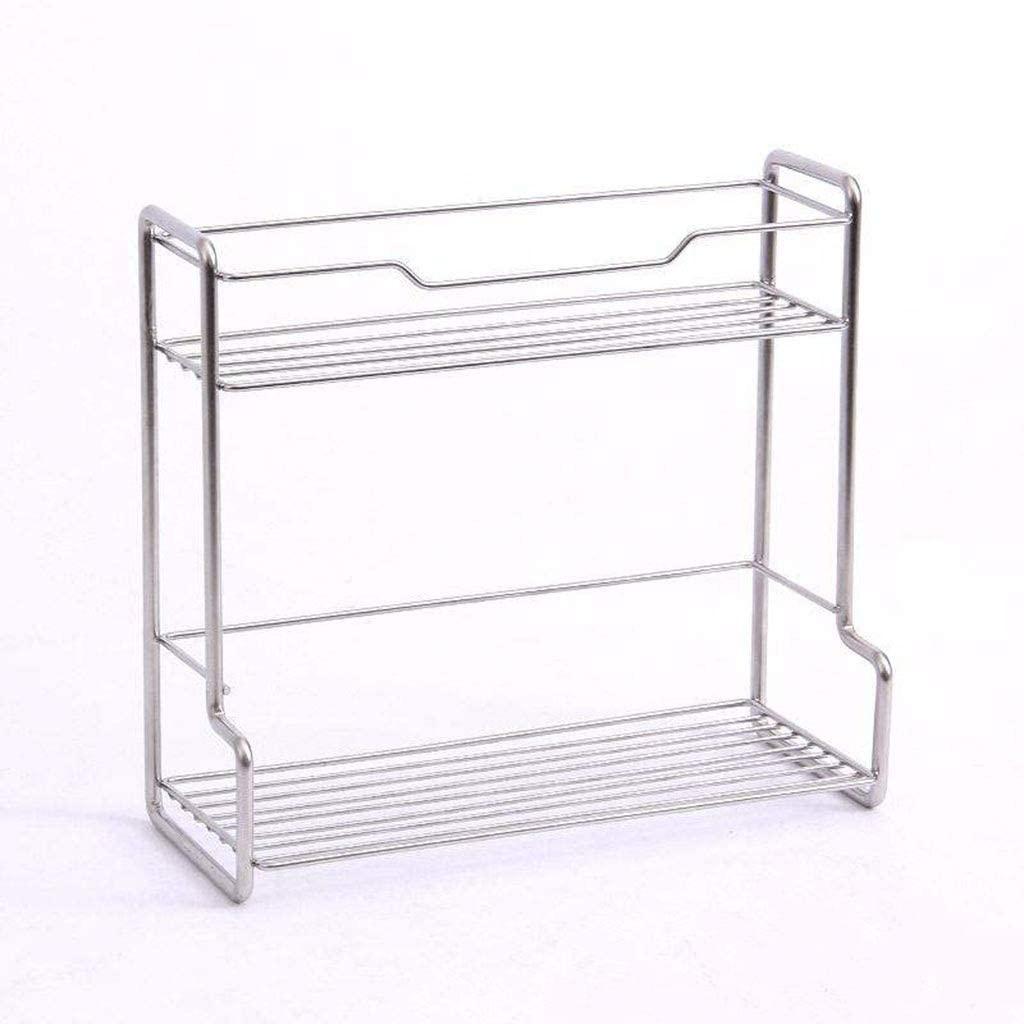 Ssrs Kitchen Racks Seasoning Storage Shelves Punch-Free Stainless Steel 2 Layer Shelves Kitchen Utensils, B-S