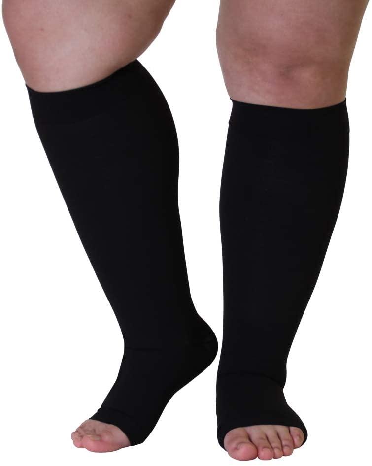4X-Large Mojo Plus Size Compression Socks 20-30mmHg Knee-Hi Extra Wide Support Stockings | Open Toe | Black XXXX-L