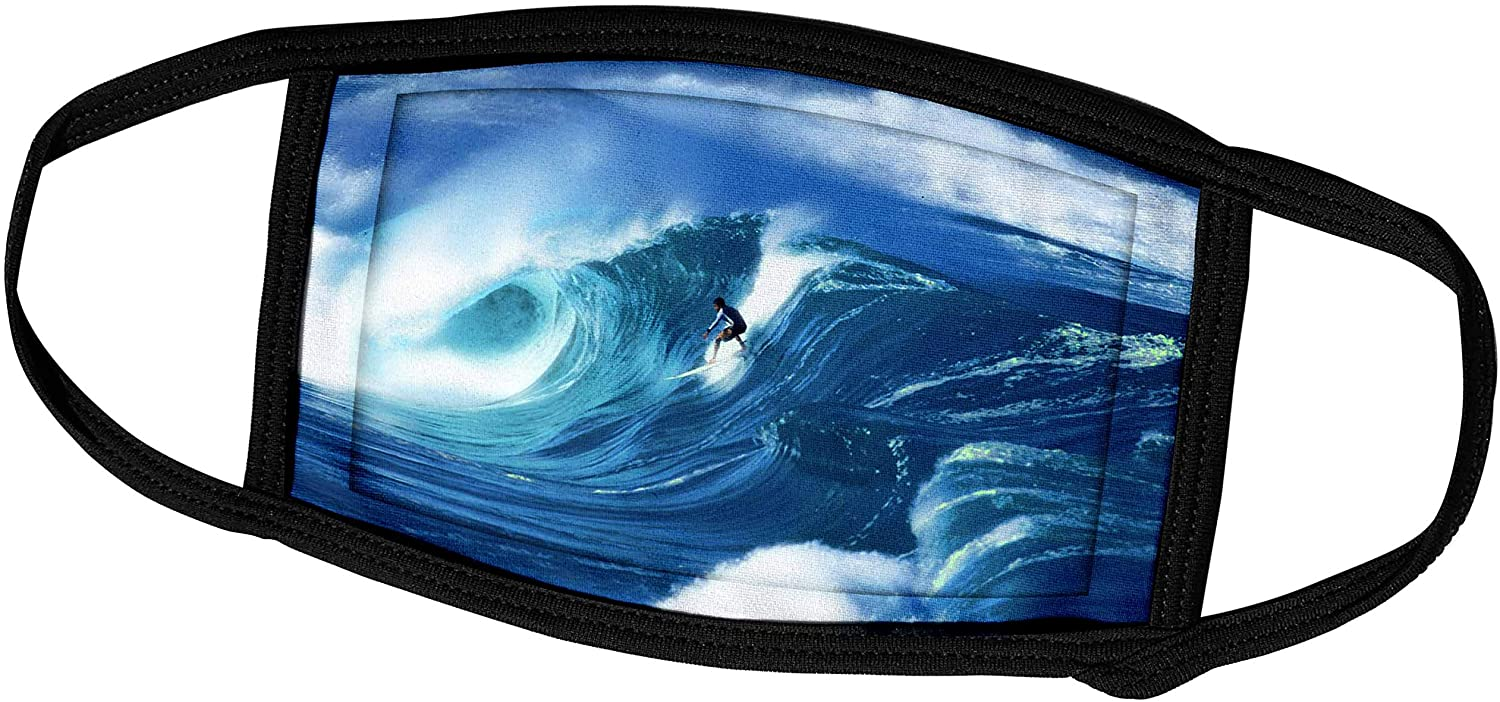 3dRose Giant Surfing Wave and Surfer in Brilliant Blues and White Foam. - Face Covers (fc_128816_2)