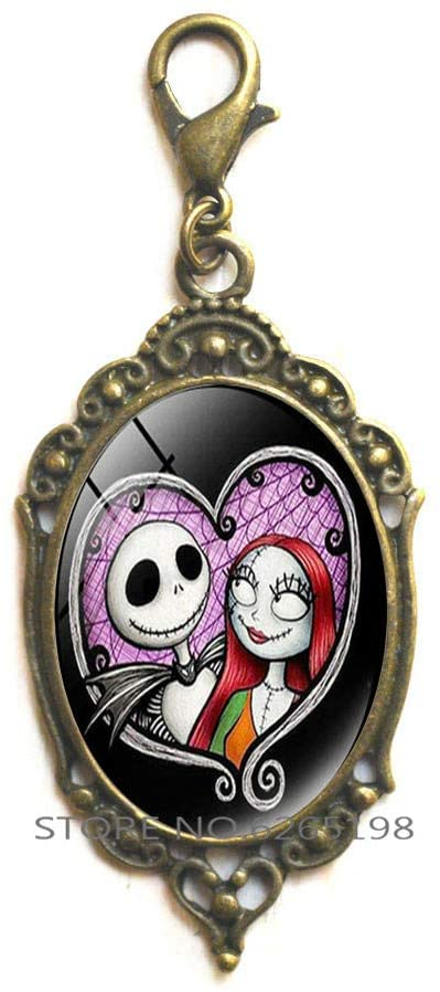 The Christmas Zipper Pull Jack Skellington and Sally Cartoon Figure Lobster Clasp Zipper Pull Unisex Jewelry Gift,N100