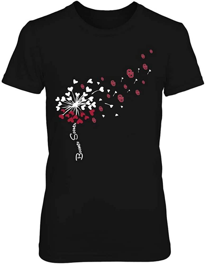 FanPrint Oklahoma Sooners T-Shirt - Football Dandelion Flying Logo - If17-Ic17-Ds37