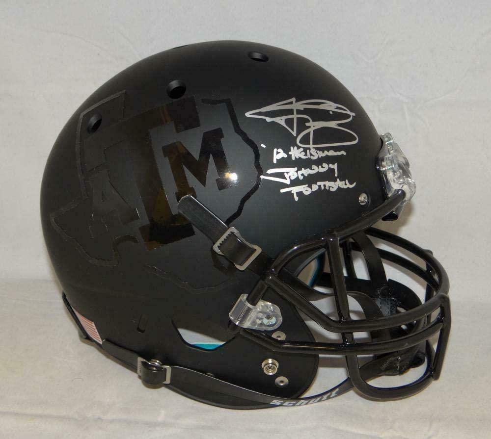 Johnny Manziel Signed A&M Aggies Black F/S Helmet W/Johnny Football- JSA W A - Autographed College Helmets