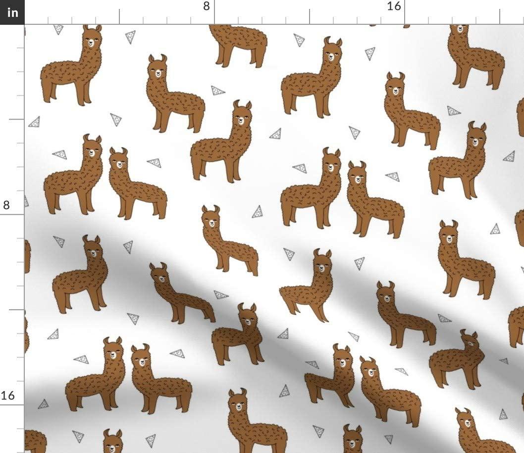 Spoonflower Fabric - Alpaca Brown Cute Llamas Knitting Illustration Animals Llama Animal Printed on Cotton Poplin Fabric by The Yard - Sewing Shirting Quilting Dresses Apparel Crafts